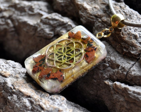 Mahogany Obsidian Seed of Life Orgonite® Necklace   - EMF Protection Pendant
