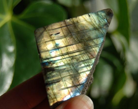 Flash Labradorite Slab, 87 Grams, 3.07 Ounces.  Polished on One Side, Madagascar