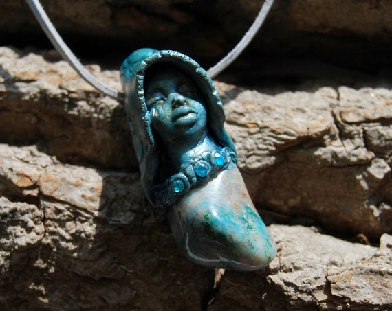 Ajoite Chrysocolla Pendant Necklace Handsculpted Clay Gemstone, Unisex