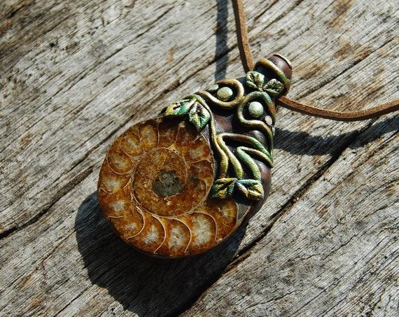 Ammonite Fossil Pendant Necklace Handsculpted  Clay Unisex Unique