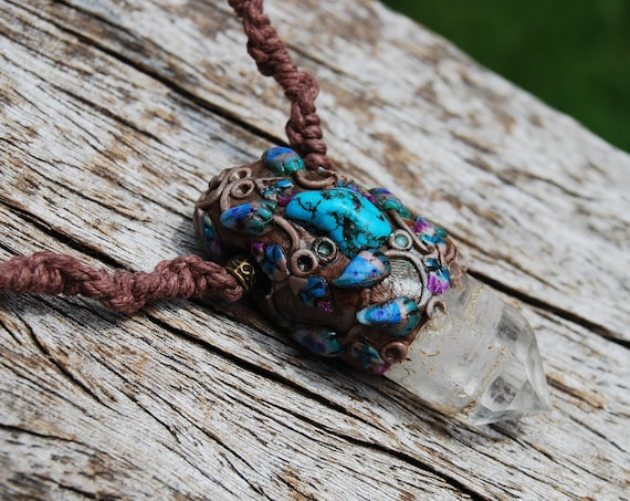Quartz Crystal with Tibetan Turquoise Necklace Handsculpted Clay on Macrame HEMP Cord - FREE SHipping !