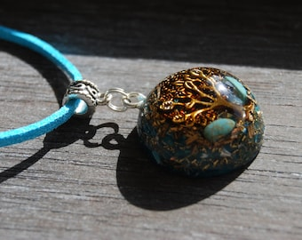 Turquoise Orgonite®  Pendant Tree Orgone Necklace