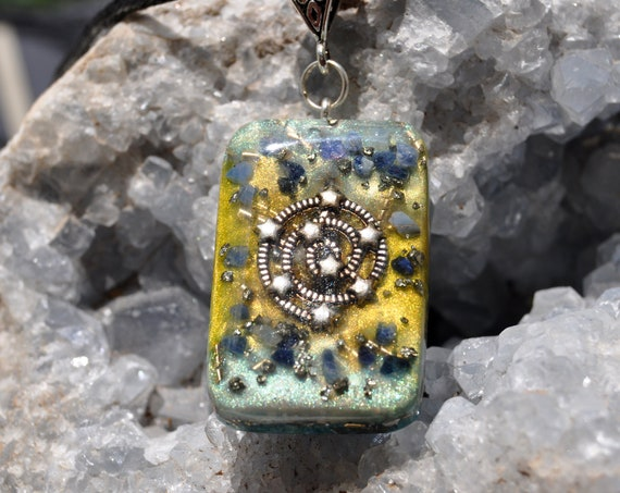 Raw Sapphire Orgonite® Pendant Spiral Galaxy Necklace