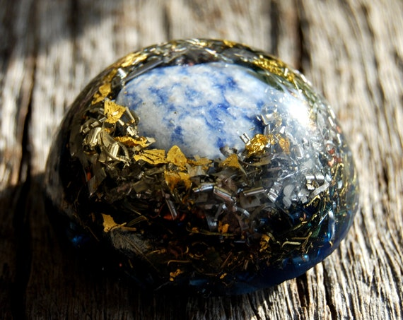 Sodalite Small Dome Orgonite® Orgone Generator®  24K Gold   - FREE Shipping !