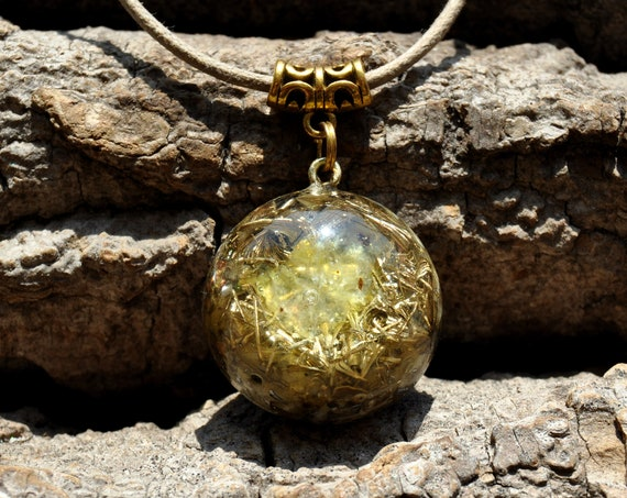 Brucite Orgonite® Orgone Necklace Small Pendant, Solar Plexus
