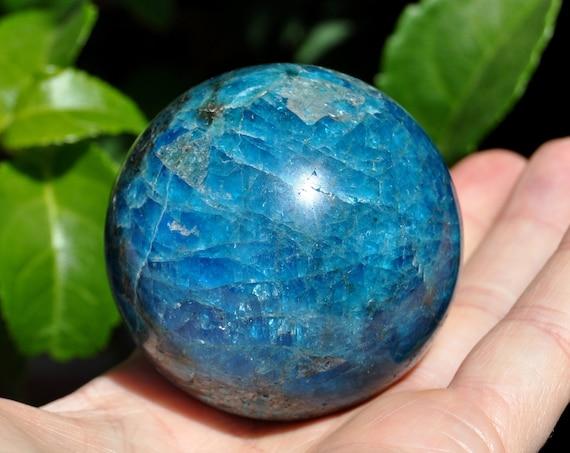 Blue APATITE Sphere Ball Egg 54 mm, 9.84 Oz - 279 grams - FREE Shipping !