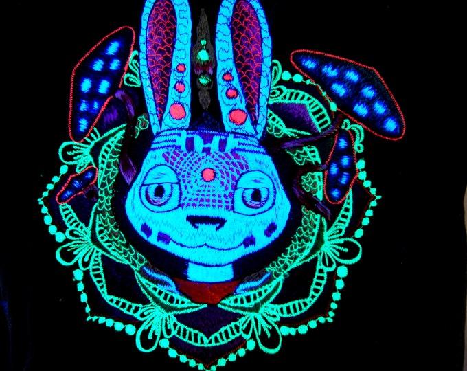 UV White Rabbit Bunny T shirt Embroidered Fluorescent