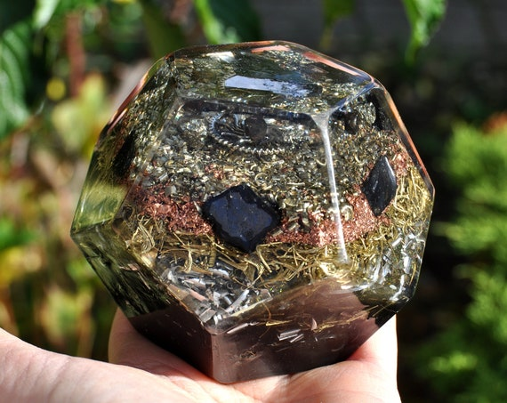Orgonite® Dodecahedron Magnetite Crystals, Elite Shungite, Galena, EMF Cleanser - lots of Metal Shavings - 526 grams - FREE Shipping !