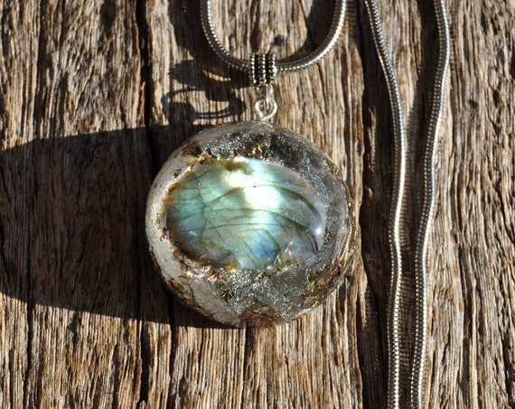 Flash Labradorite Orgonite® Pendant Necklace with 925 Silver, EMF Cleanser Unisex