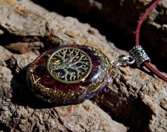 Almandine red Garnet Orgonite® Pendant Necklace with TREE Unisex