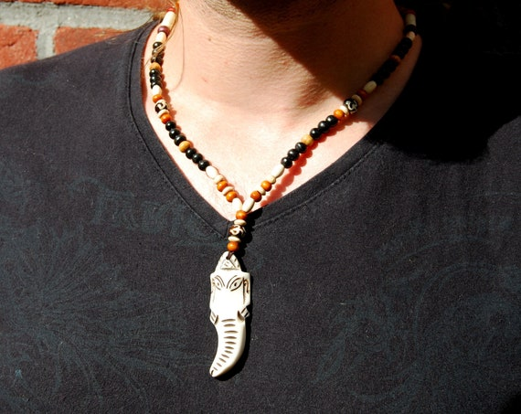 Carved Ganesha Pendant, Wood beaded Necklace
