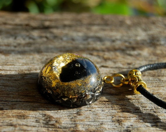 Black Tourmaline Orgonite® Orgone Pendant with 24K Gold, Protection, Unisex