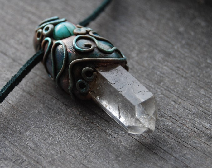 Terminated Quartz Crystal Pendant with Amazonite Necklace