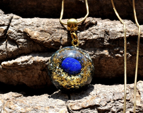 Lapis Lazuli Orgonite® Small Pendant Necklace with 24K Gold, Unisex