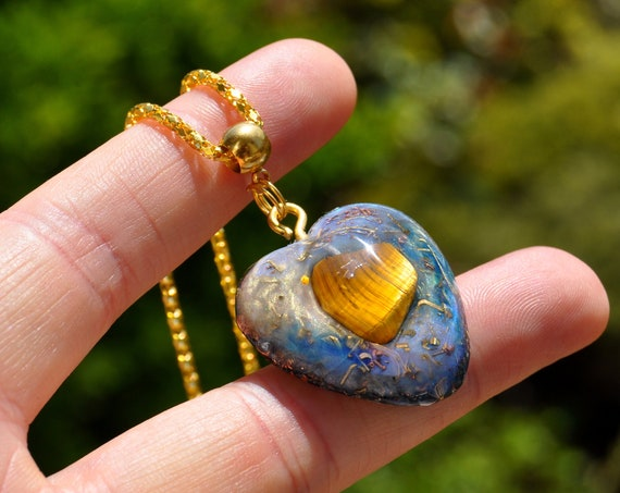 Heart with Tiger Eye Orgonite® pendant Necklace, EMF Protection, Free Delivery