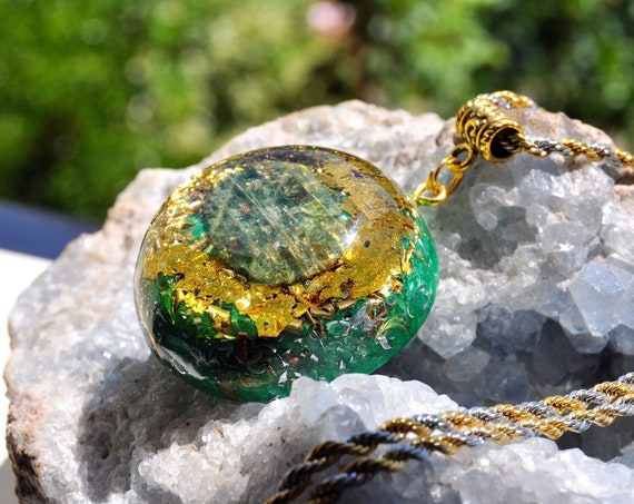 RARE Green Diopside Orgonite® Pendant , Orgone Necklace - FREE Shipping !
