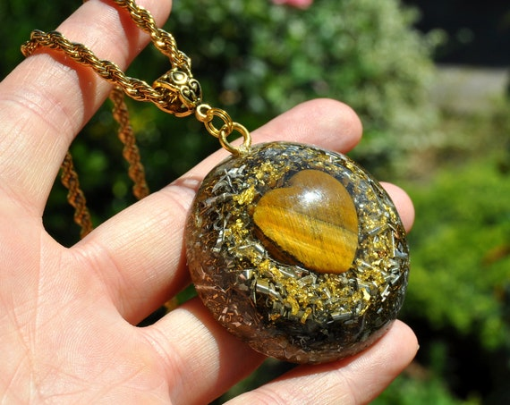 LARGE Tiger Eye Heart Orgonite® Orgone Pendant with 24K Gold, Unisex