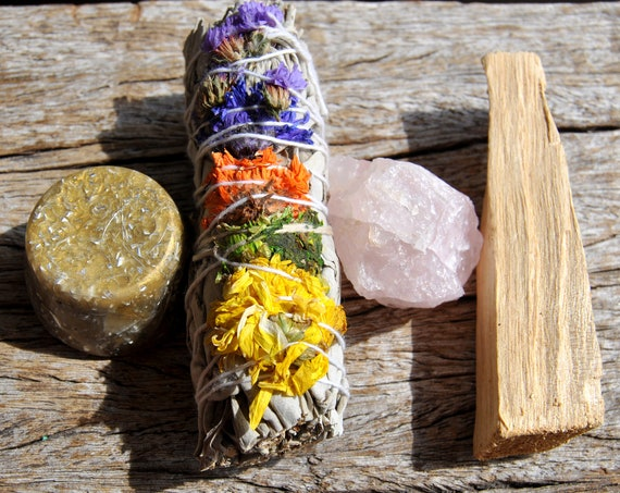Smudge Kit - Floral White Sage + Orgonite Towerbuster  + Palo Santo  + Rose Quartz - Cleansing Crystal Smudge Incense Kit