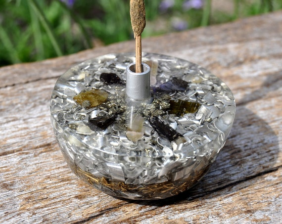 Orgonite® Incense Stick Holder with Tourmaline and Elite Shungite Crystals