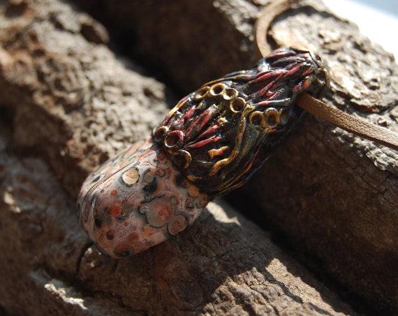 Orbicular Ocean Jasper Pendant Handsculpted Clay Gemstone Pendant Unisex