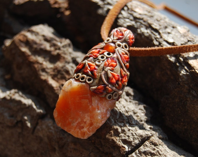 Orange Calcite pendant Handsculpted Clay Woodland Unisex