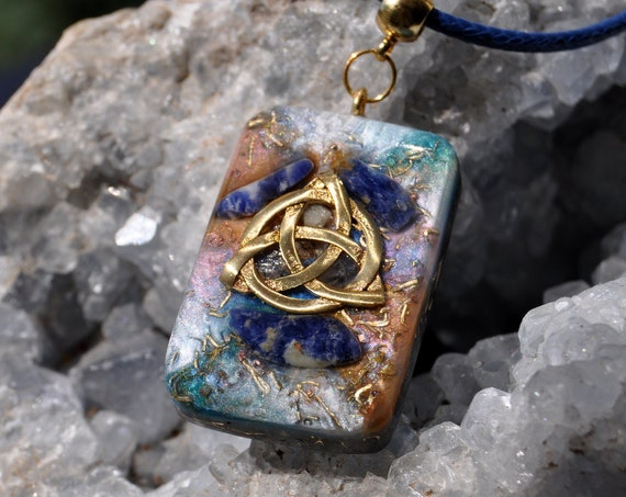 SODALITE Orgonite® with Triquetra Necklace - FREE Shipping !