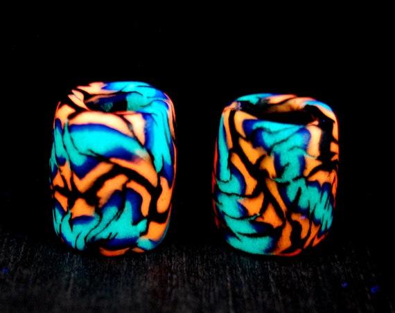 8-9 mm TWO UV Blacklight Dread beads Clay Handsculpted