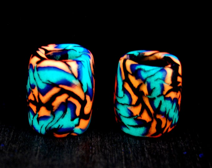 8-9 mm TWO UV Blacklight Dread beads Clay Handsculpted