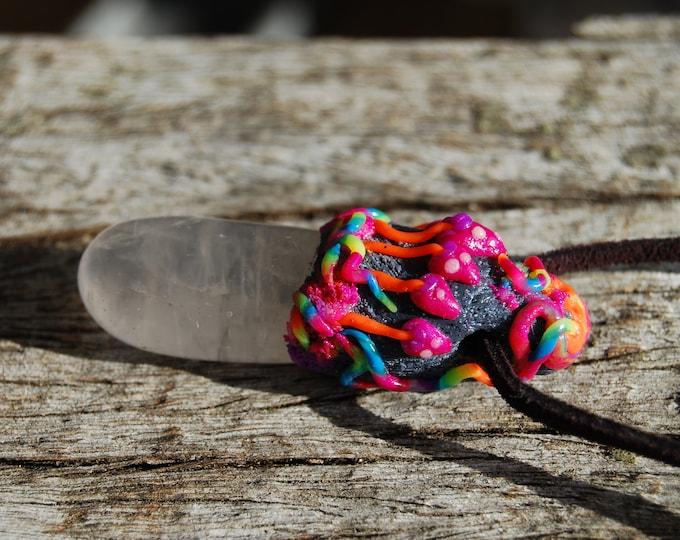 UV Colorful Clear Quartz Pendant with Mushrooms Woodland