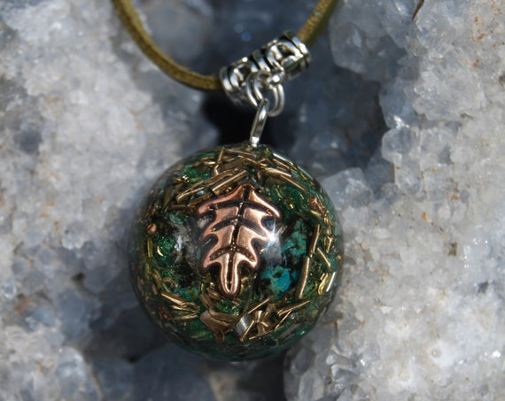 Leaf Orgonite® Pendant with African Turquoise Unisex Necklace