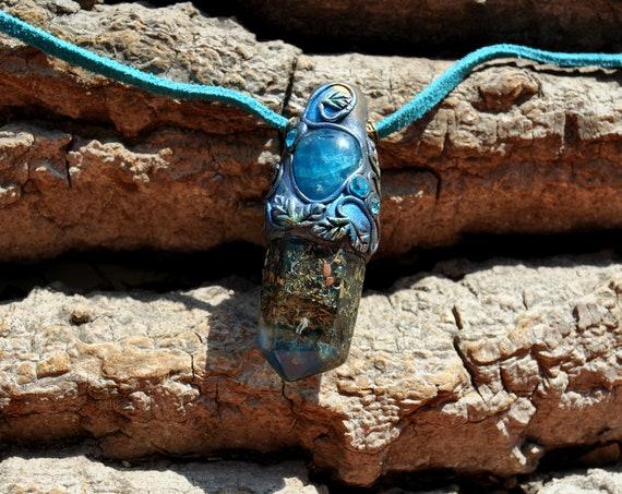 BLUE APATITE Orgonite® Pendant Handsculpted Clay Gemstone