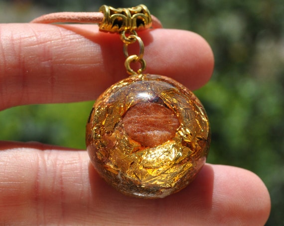 Sunstone Orgonite® Orgone Necklace with 24K Gold