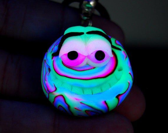 Smiley Face Necklace that Glows in Blacklight, Psy UV Fimo Clay