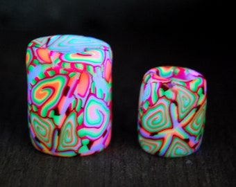 TWO UV Blacklight Dread beads  Psychedelic Handsculpted Clay