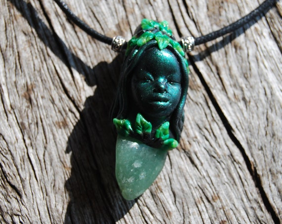 Aventurine Goddess Pendant Necklace Clay Gemstone