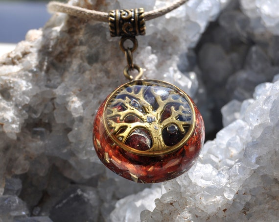Tree of Life Orgone Orgonite® Pendant Necklace with red Garnet Unisex Unisex