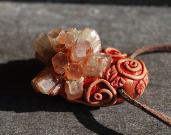Aragonite Star Cluster Necklace handsculpted Gemstone Clay Organic Fantasy Unique