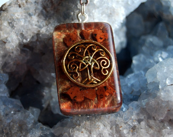 Mahogany Obsidian Orgonite® orgone Pendant, Tree of Life Necklace, Unisex - Base, Sacral, Root Chakra