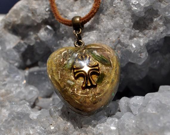 Green Tourmaline Orgonite® pendant Necklace, Cross