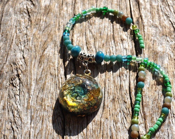 INDICOLITE Orgonite® Pendant beaded Necklace with blue Tourmaline