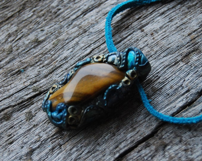 FREE Shipping ! Tiger's Eye Pendant Handsculpted Clay Gemstone Unique Unisex