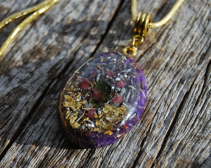 Orgonite® Watermelon Tourmaline and Ruby Pendant Necklace