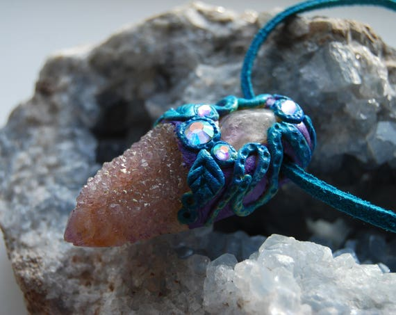 Amethyst Spirit Quartz Fantasy Clay Gemstone Pendant Fairy Ametrine