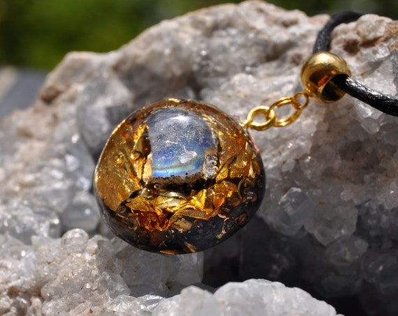 BLACK  MOONSTONE Orgonite® Pendant Necklace with 24K Gold