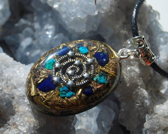 Spiral Galaxy Orgonite® Orgone Pendant Necklace with raw Azurite crystals and raw Chrysocolla, Unisex - FREE Shipping !