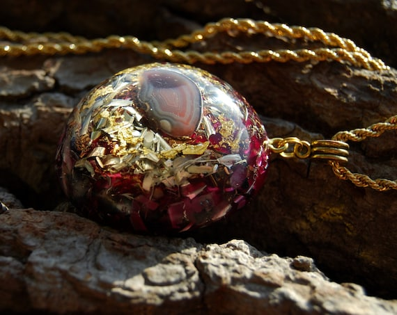 Agate LARGE Orgonite® with 24K Gold, Large Orgone Necklace - FREE Shipping !
