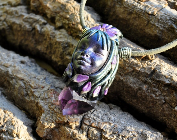 Amethyst Crystal Goddess Pendant Necklace
