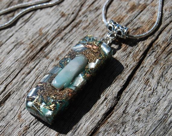Blue Aragonite Orgonite® Pendant Orgone Necklace