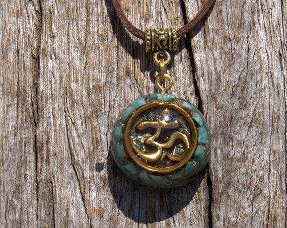 AUM Orgonite® Pendant with raw Amazonite Pieces, Necklace