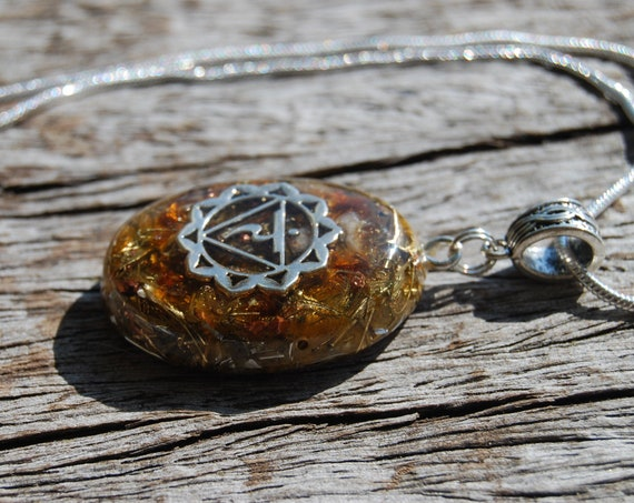 Solar Plexus Orgonite® Orgone Pendant Solar Plexus Third Chakra Necklace - WILL POWER